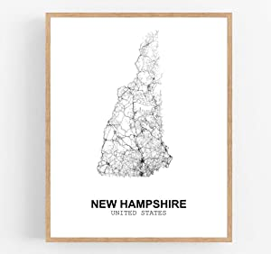 Eleville 11X14 Unframed New Hampshire United States Country View Abstract Road Modern Map Art Print Poster Wall Office Home Decor Minimalist Line Art Hometown Housewarming wgn185