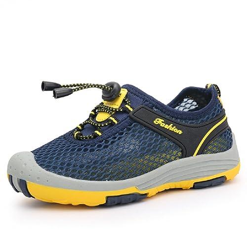 652c80b1814f6 Aizeroth-UK Unisexe Enfants Mesh Respirant Chaussures de Randonnée Bout  Fermé Lacets Autobloquants Sport Semelle