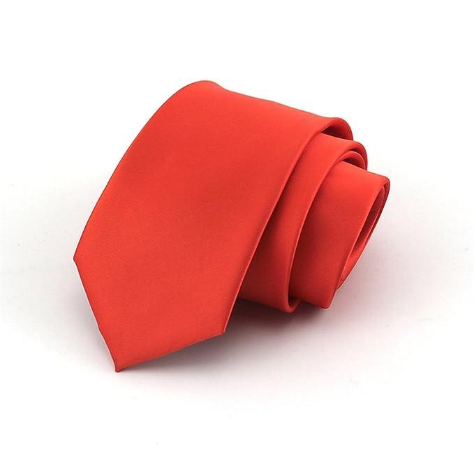 HXCMAN NeckTie 100% tejido de seda corbata naranja 8cm: Amazon.es ...