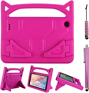Fire 7 Tablet Case with 2 Universal Stylus Pen, DaKuan Light Weight Shock Proof Handle Protective Cover (Pink) Compatible with 7 inch Display Tablet (5th Generation 2015 / 7th Generation 2017)