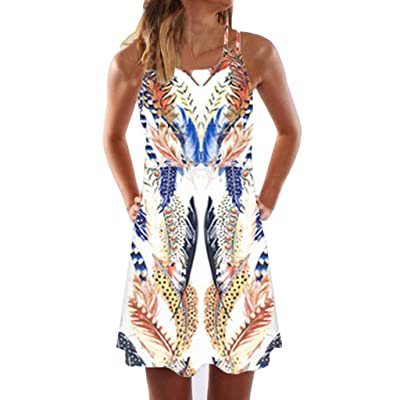 Xinantime Womens Vintage Boho Camisole Dresses Ladies Summer Sleeveless Beach Printed Short Mini Dress: Clothing