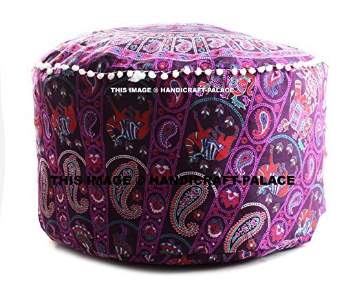 Indian Cotton Handmade Mandala Pouf Footstool Round Pouf Cover Ottoman Cover Footstools Size 24 x 14 inch Sold By Handicraft-Palace by Handicraft-Palace