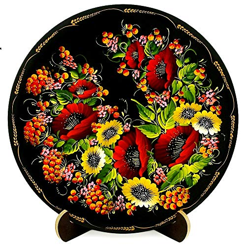Wooden Platter / Plate on Stand - Floral Home Decor Accent Item for Living Room, Kitchen or Fireplace | Wall Hanging or Table Top | Hand Painted and Lacquered Ethnic Gift from Ukraine (Red & Yellow)