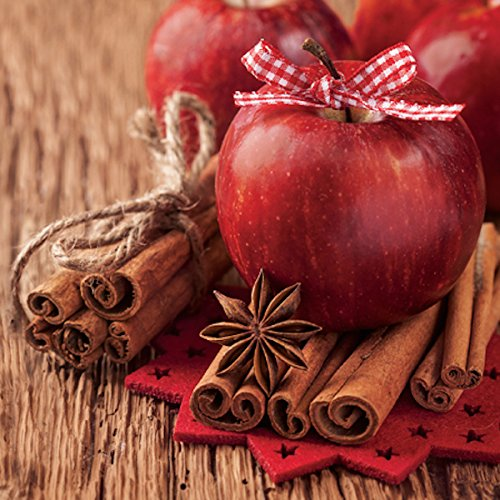 - 40 Pcs Paper Luncheon Napkins Christmas Apples with Cinnamon