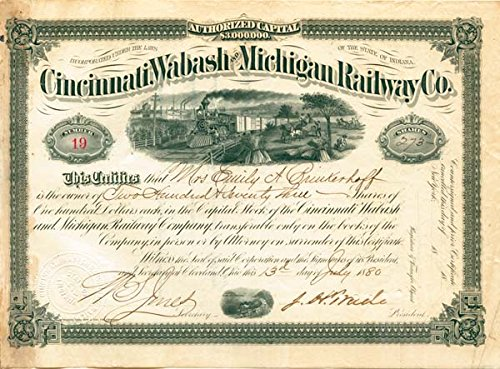 Railway Stock - J. H. Wade autographed Cincinnati, Wabash & Michigan Railway Stock