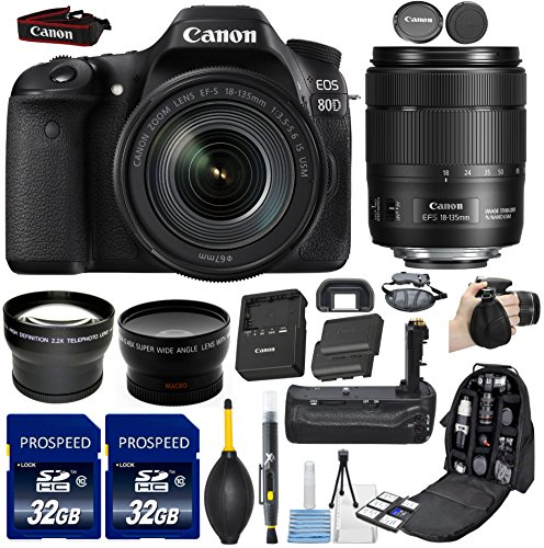 Cheap Canon EOS 80D DSLR Camera with EF-S 18-135mm f/3.5-5.6 Image Stabilization USM Lens + 58mm Wide Angle + 2.2x Telephoto Lens + 2Pcs 32GB Commander Memory Card + Battery Grip + Extra Battery + Backpack