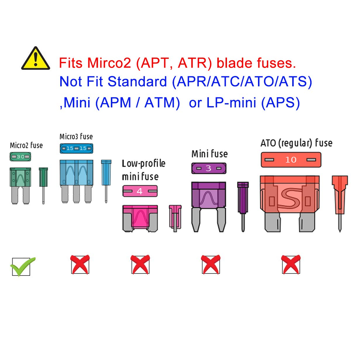 5 Pack Micro2 ATR Blade Fuse Holder Muhize Fuse Tap 12V Car Add-a-circuit Fuse TAP Adapter with 5 Amp Micro2 Blade Fuse