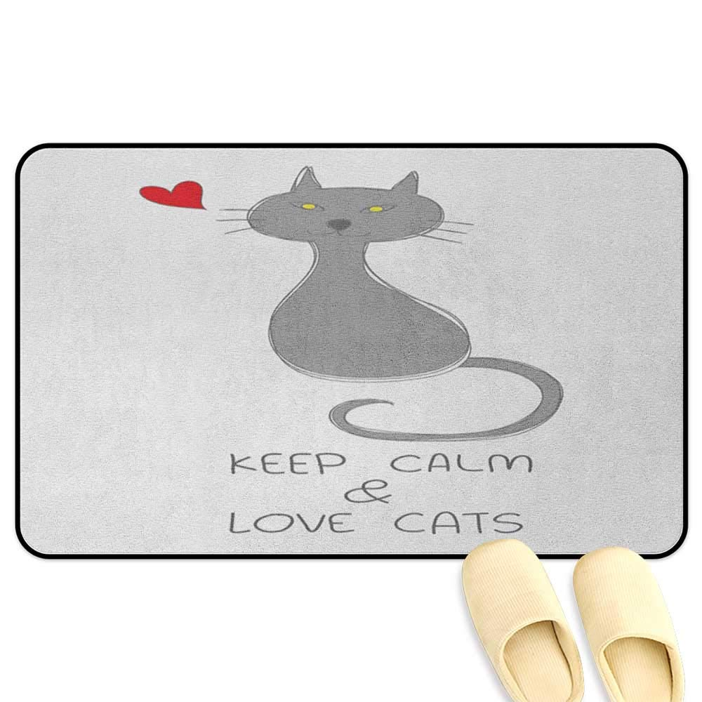 Keep Calm Patio mat Grey Cat Sitting with Red Heart and Hand Drawn Quote Keep Calm Love Cats Grey Red Yellow Hard Floor Protection W16 x L24 INCH