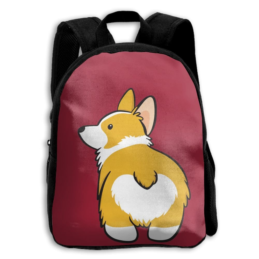 fidaljf FunnyキュートコーギーButt犬子供の3dプリントファスナー付き旅行バッグ学校バックパック   B07DN8NM45