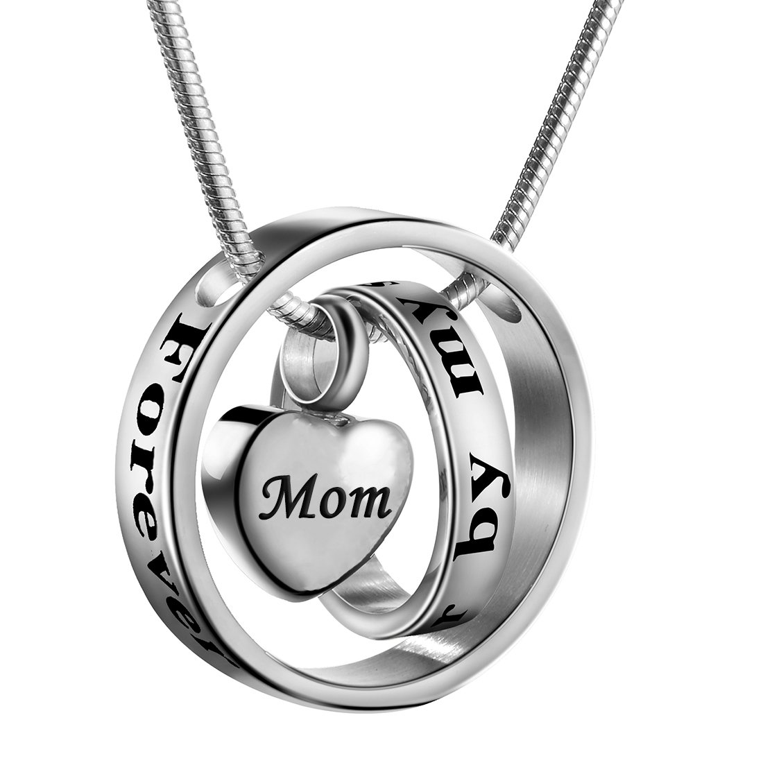 Cremation Jewelry No Longer by My Side, Forever in My Heart Carved Locket Cremation Urn Memorial Necklace Keepsake Urn Pendant for Dad (Mom)