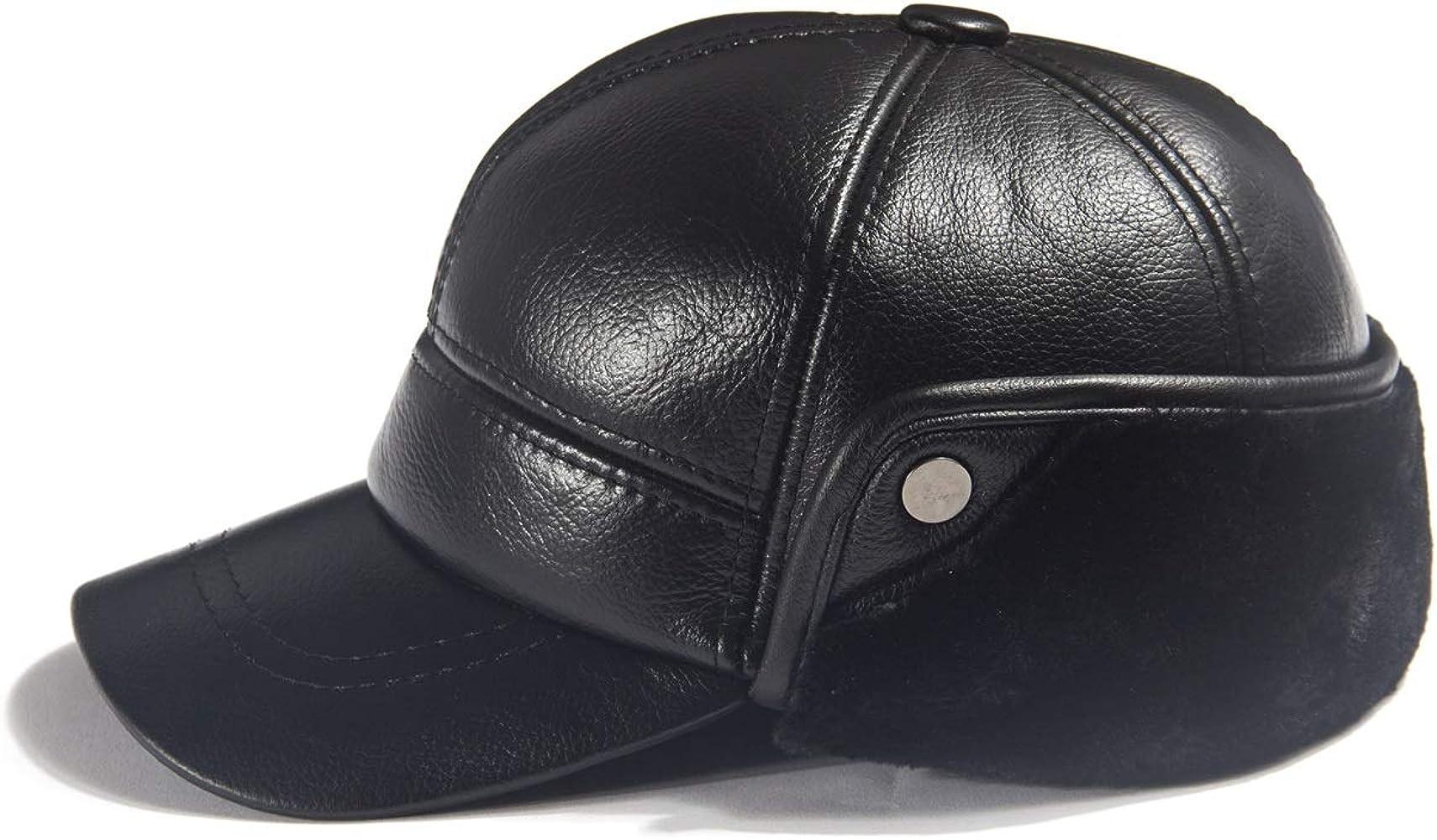Gorra de béisbol de Piel de Vacuno para Hombre con Orejeras de ...