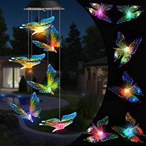 Toodour Solar Christmas Lights, Color Changing Solar Butterfly Wind Chimes, LED Decorative Mobile, Waterproof Outdoor Decorative Lights for Patio, Balcony, Bedroom, Party, Yard, Window, Garden