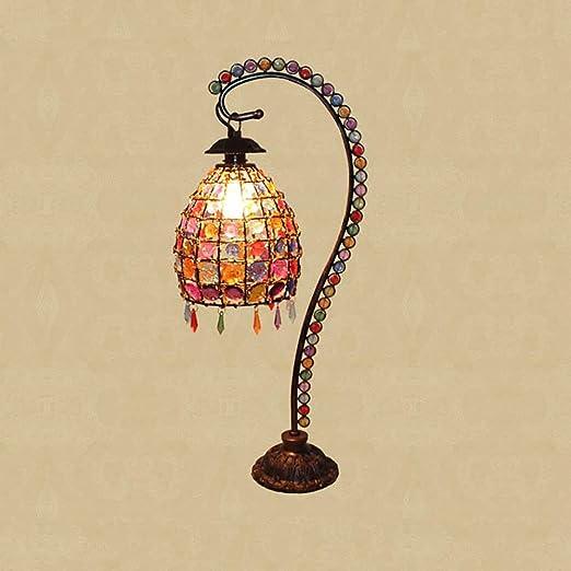 HYH Lámpara de mesa hecha a mano europea dormitorio lámpara ...