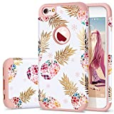 Fingic iPhone 6 Case,iPhone 6S Case Pineapple, Slim Floral Pineapple Design Case Anti-Scratch&Slip Cover Hard PC Soft Rubber Silicone Cover Case for iPhone 6/ 6S 4.7'',Cute Pineapple/Rose Gold