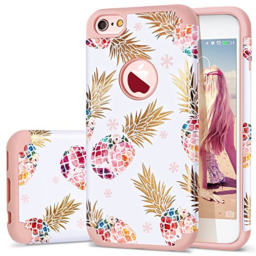"iPhone 6 Case,iPhone 6S Case Pineapple,Fingic Slim Floral Pineapple Design Case Anti-Scratch&Slip Cover Hard PC Soft Rubber Silicone Cover Case for iPhone 6/ 6S 4.7"",Pineapple/Rose Gold"