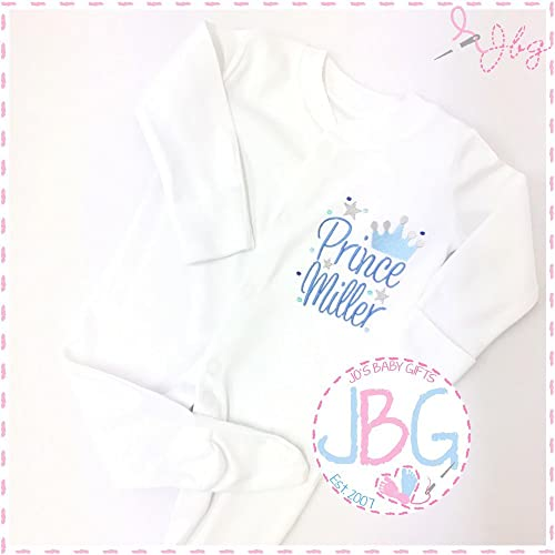 Unique Personalised Prince Sleepsuit Babygro Babygrow