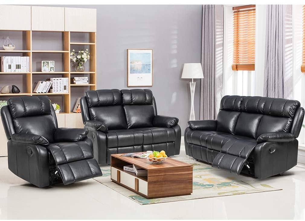 FDW Recliner Sofa Set Sectional Sofa for living room Furniture PU Leather Sofa and CouchManual Reclining Sofa Recliner Chair, Love Seat, and Sofa (3seat)Home,Black.