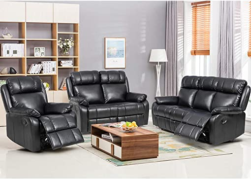 FDW Recliner Sofa Set Sectional Sofa for living room Furniture PU Leather Sofa and Couch Manual Reclining Sofa Recliner Chair, Love Seat, and Sofa 3seat Home Black.