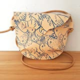 Hand Stitched Leather Small Crossbody Bag in Birds