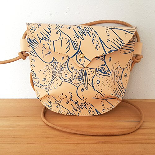 Hand Stitched Leather Small Crossbody Bag in Birds by Chloe Derderian Gilbert