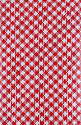 Gingham Small Check Bias with Zipper Umbrella Hole Vinyl Flannel Back Tablecloth (Red, 70