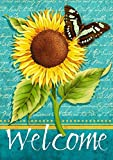 "Sunflower Welcome Summer House Flag Floral Butterfly 28"" x 40"""