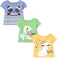 The Children's Place Baby and Toddler Girls Graphic Tee 3-Pack, Multi CLR