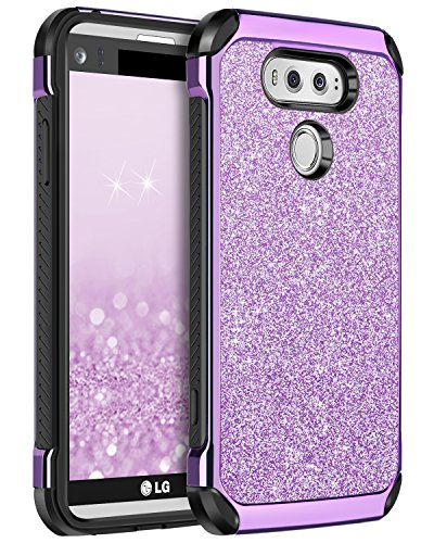 BENTOBEN Protective Phone Case for LG V20 (2016 Release) 2 in 1 Slim Fit Glitter Bling Hybrid Hard Cover Laminated with Sparkly Shiny Faux Leather Chrome Shockproof Bumper for Girls&Women Purple (Best Cell Phone Case For Lg G2)