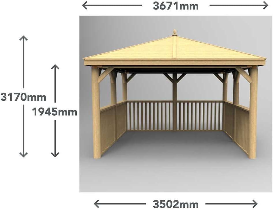 Gazebo de madera cuadrado de 3, 5 m con techo de cedro de Nueva ...