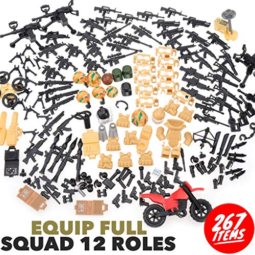 inFUNity Army Minifigures Armor and Weapons Guns Military Gear Accessories Pack (267 PCS) Fit WW2 Soldiers Compatible with Lego Accessories