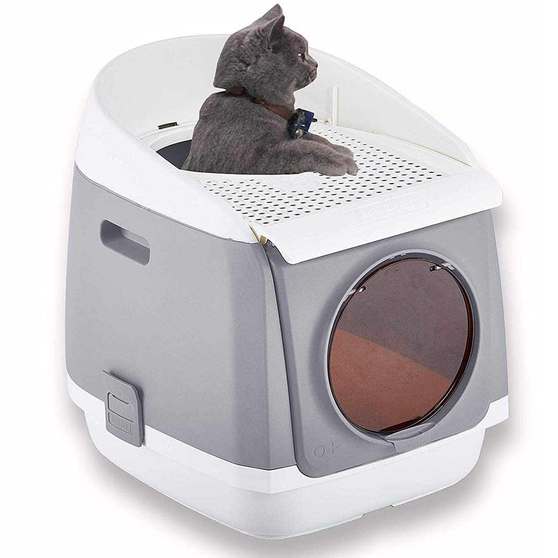 Pakeway Two Door Entry Cat Litter Box, Easy Clean Fully Enclosed Cat Toilet, Reduce Litter Scatterup to 95%, Service for Small Kitty & Big Cat, Gray by Pakeway