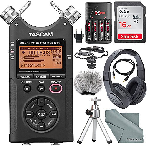 - Tascam DR-40 4-Track Handheld Digital Audio Recorder with Microphone Shockmount, Dedicated Windscreen, Along with Platinum Accessory Bundle Fibertique Cleaning Cloth