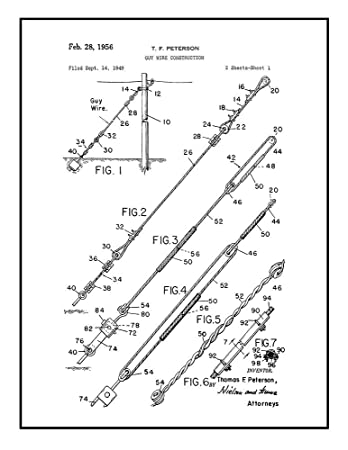 Amazon Com Guy Wire Construction Patent Print Black Ink On White