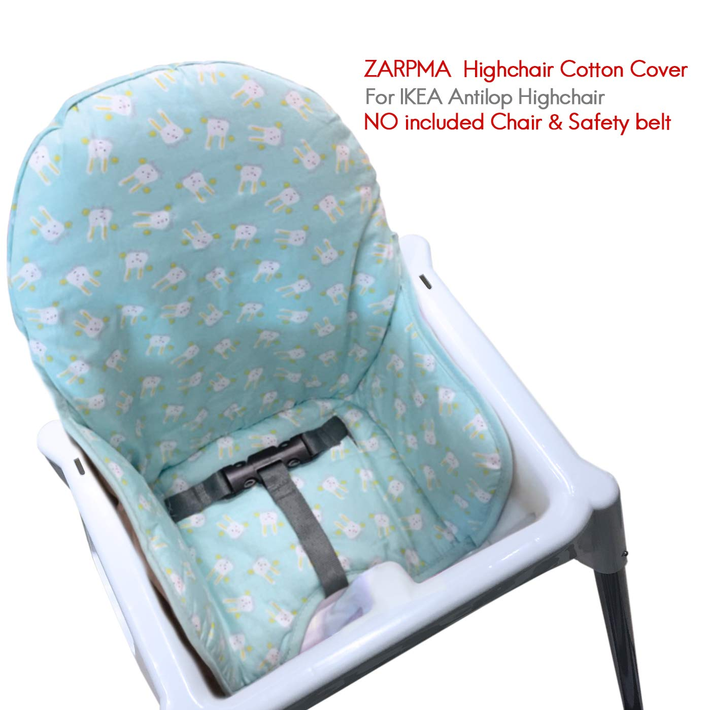 Light Green IKEA Antilop Highchair Cotton Seat Covers by ZARPMA,Padded Cotton,Foldable Baby Highchair Cover IKEA Child Chair Cushion