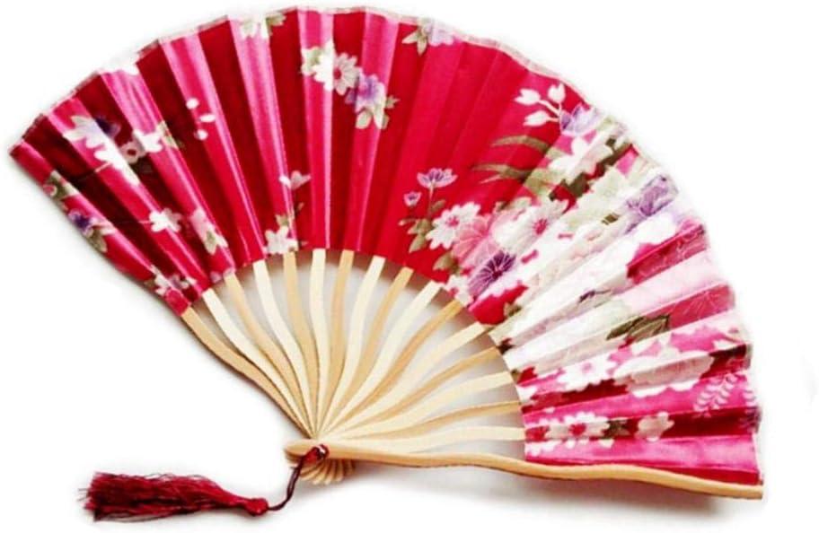 Cula Éventail de danse pliable en soie pour fête de mariage A