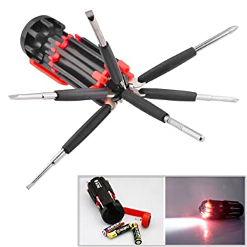 SHOPEE TM Multi-screwdriver 8 in 1 Multi-function Screwdriver Kit, Tool Kit Set + 6 LED light Torch