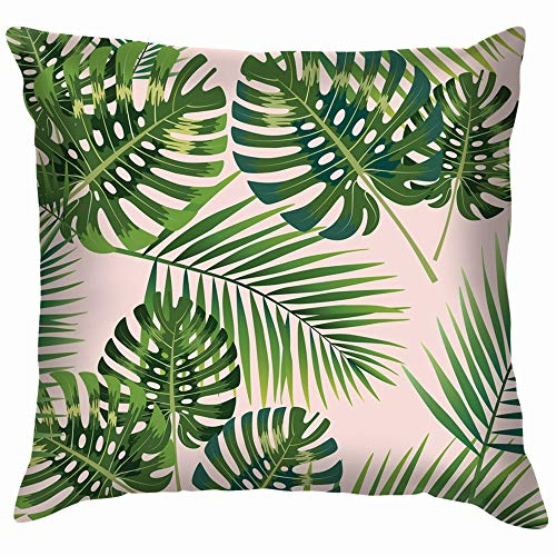 Palm Tropical Leaves Beauty Fashion Cotton Linen Home Decorative Throw Pillow Case Cushion Cover for Sofa Couch 12X12 Inch