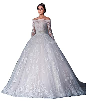 Fanciest Women\'s Lace Wedding Dresses Long Sleeve Wedding Dress Ball ...