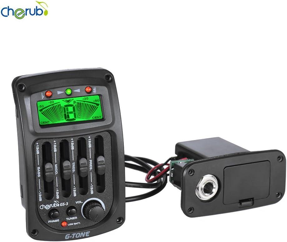 ammoon Cherub GS-3 Acústico 4-Band EQ Ecualizador Preamplificación de la Guitarra Piezo Amplificador y con el Sintonizador Función de Fase Pantalla LCD