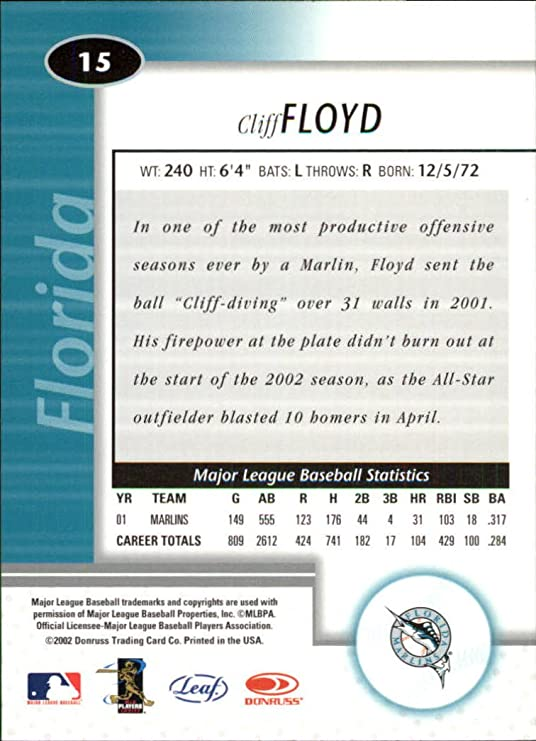 2002 Leaf Certified #15 Cliff Floyd at Amazon's Sports Collectibles