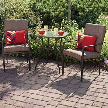 Perfect Crossman 3 Piece All Weather Square Outdoor Bistro Furniture Patio Set,  Glass Top Table,