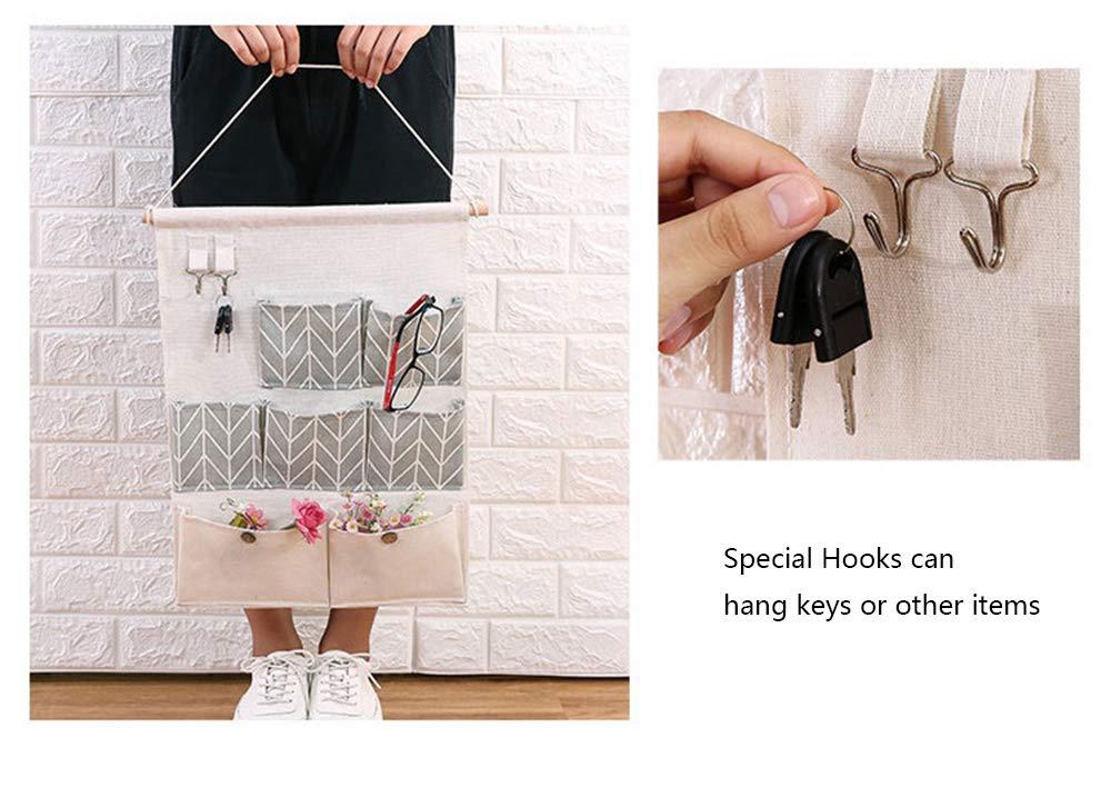7 Taschen Baumwolle Kleiderschrank H/ängetasche Wandtasche f/ür Babyroom Schlafzimmer und Bad K/üche Fesjoy Ins Nordisch H/ängende Aufbewahrungstasche
