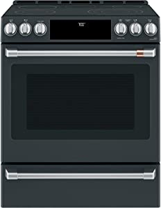 Ge Cafe CES700P3MD1 Matte Collection Series 30 Inch Slide-in Electric Range in Matte Black