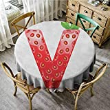 "Banquet Round Tablecloth 70"" Inch Round Letter V,ABC of The Organic Life Theme"