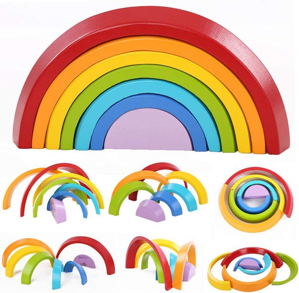 Kinder Kleinkinder frühe Montessori Holzringe Rainbow Stacking Blocks Set