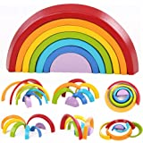Montessori Wooden Rainbow Toy Colored Arch Bridge Blocks Set Shape Sorting Game Learning Toy Stacker Nesting Assembly…