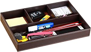 Drawer Organizer Mens Nightstand Valet Trays, PU Leather Desk Supply Organizer 4 Compartments Desktop Storage Box for Office Stationery/Business Card/Keys/Watches/Coins/Jewelry/Phone (brown)