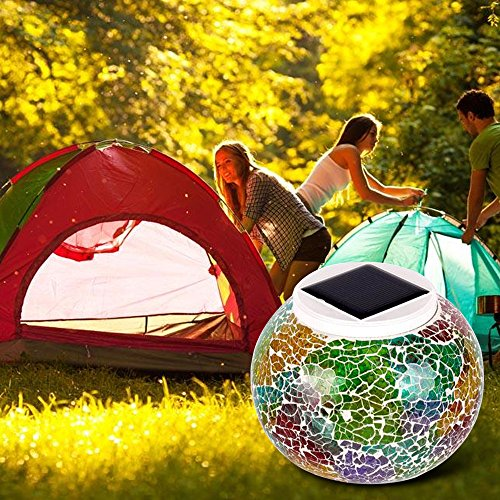 Solar Lamp Decoration Night Yard Power Lights Table Pool Light Lantern Outdo Lawn for Crystal TechCode Changing Table Desk Solar Party Glass A01 Beside Light Garden Colour Mosaic Waterproof Patio w0SZqW0rX