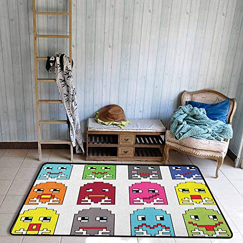 Living Room Area Rug,90s 90s Vintage Video Games Style Cartoon Showing Vary Emotions with Stroke Art Print,Ideal Gift for Children,4'11