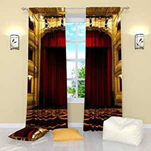 Factory4me Red Curtains Collection Theater Curtain. Window Curtain Set of 2 Panels Each W42 x L84 Total W84 x L84 inches Drapes for Living Room Bedroom Kitchen